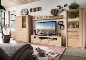 Vitrinenschrank - TV-Lowboard Wildeiche weiß - Wohnzimmer