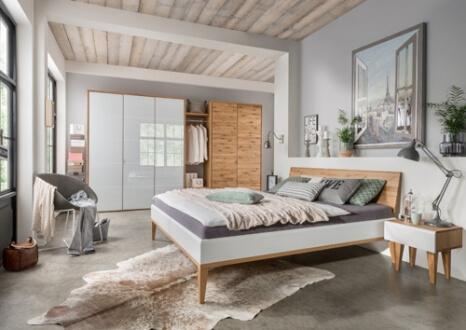 Bett Massivholz weiß-Nachttisch-System-Kleiderschrank-Weißglas