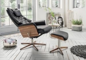 Loungesessel schwarz Leder Nußbaum Relaxfunktion