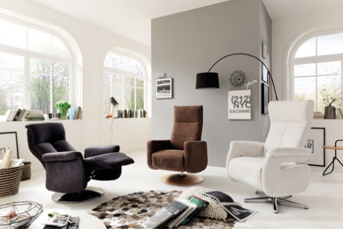 Relaxsessel grau braun weiß - Fußteil