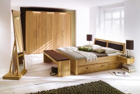Schubkastenbett- System-Kleiderschrank - Sitzbank - Rotkernbuche massiv