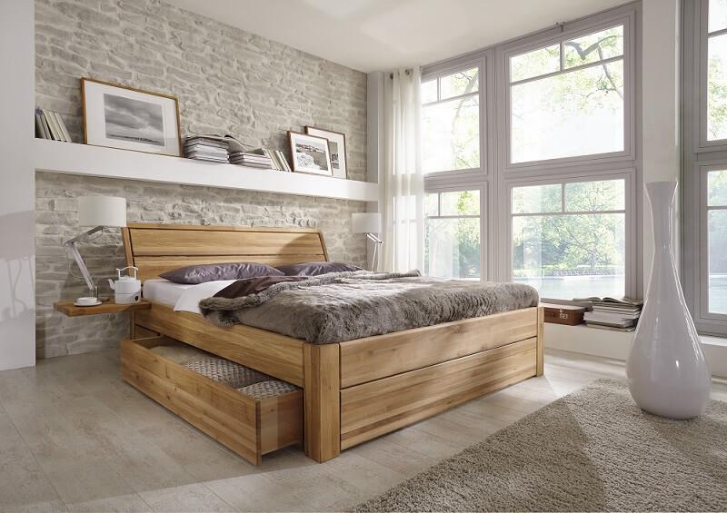 Doppelbett Wildeiche - Massivholzbett mit großzügigen Schubladen